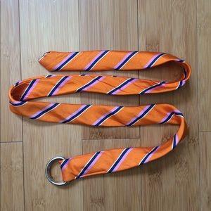 J. Crew Stripe Belt Orange Silk S/M